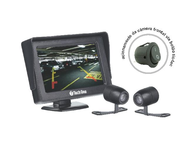 Kit monitor e câmera de ré e frontal borboleta