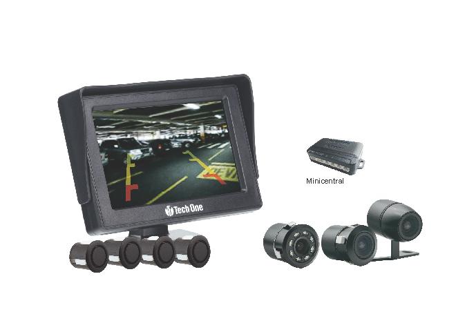 Sensor de estacionamento com monitor câmera de ré led visão noturna & câmera de ré flex